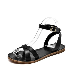 wantmustneed.com / Genuine Leather Sandals | Cross-Tied Adelyn Black / 5