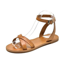 Load image into Gallery viewer, wantmustneed.com / Genuine Leather Sandals | Cross-Tied Adelyn Brownish Yellow / 5