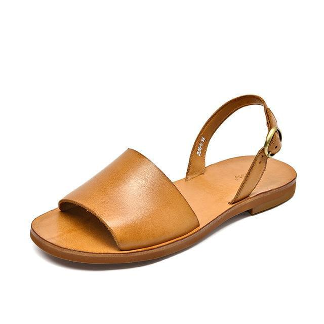wantmustneed.com / Genuine Leather Sandals | Slingback Leila Brownish-Yellow / 5