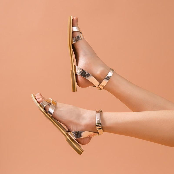 Genuine Leather Sandals | Cross-Tied Champagne Alexa_wantmustneed.com