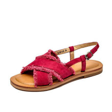Load image into Gallery viewer, wantmustneed.com / Genuine Leather Sandals | Fringe Addison Rose Red / 5
