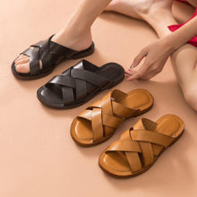 Load image into Gallery viewer, Genuine Leather Sandals | Flat Slides Nora_wantmustneed.com