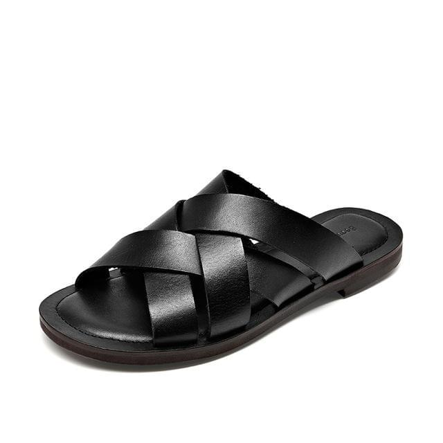 Genuine Leather Sandals | Flat Slides Nora_wantmustneed.com