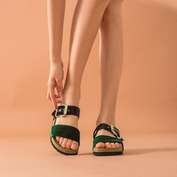 Genuine Leather Sandals | Velvet Slippers Penelope_wantmustneed.com