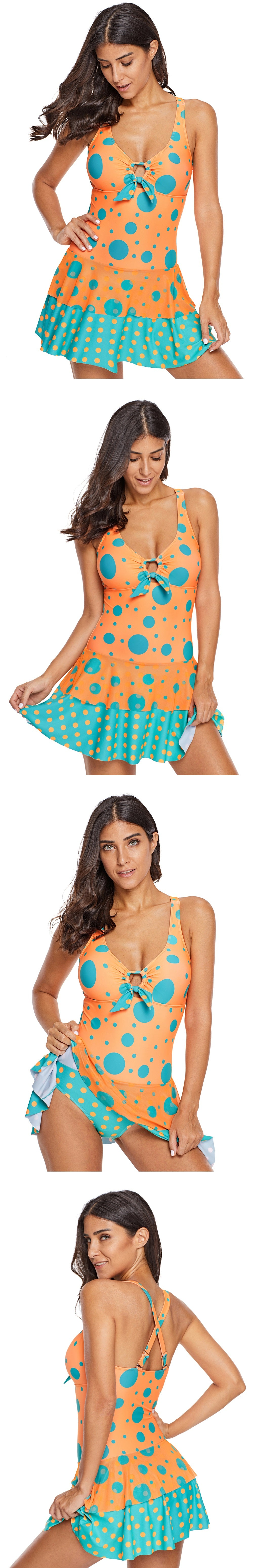 15fb438aa7 Orange blue polka dot print one piece swim dress – Fashion Women Clothes