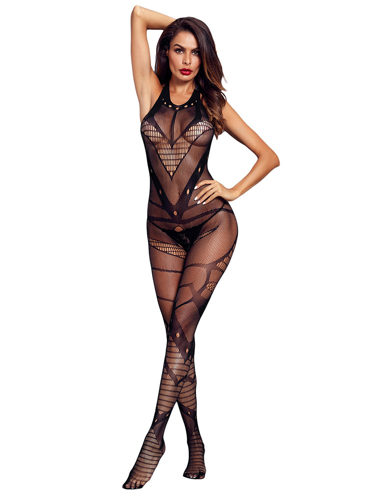 43987e7605c Women mesh heart detail backless body stocking - Fashion Women Wear