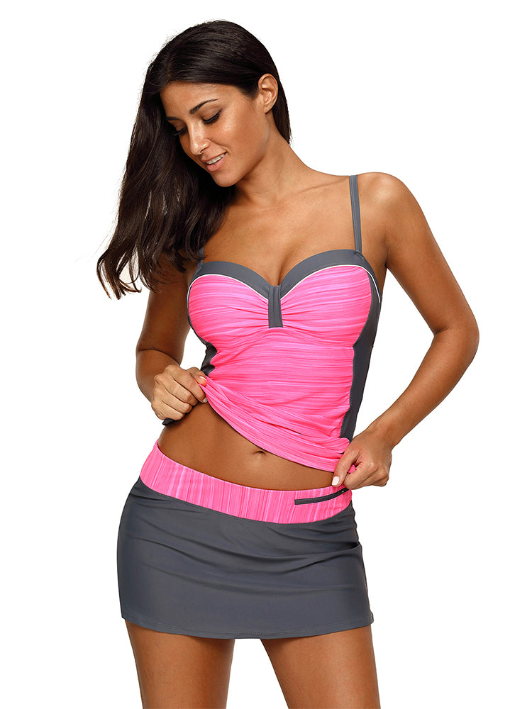 a4c83a9aa5 Women ruched braces tankini with skirted swimsuit - Fashion Women Wear