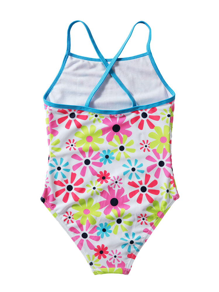 b1797994727f Girls swimwear cross back sunflower print one piece swimsuit - Fashion  Women Wear