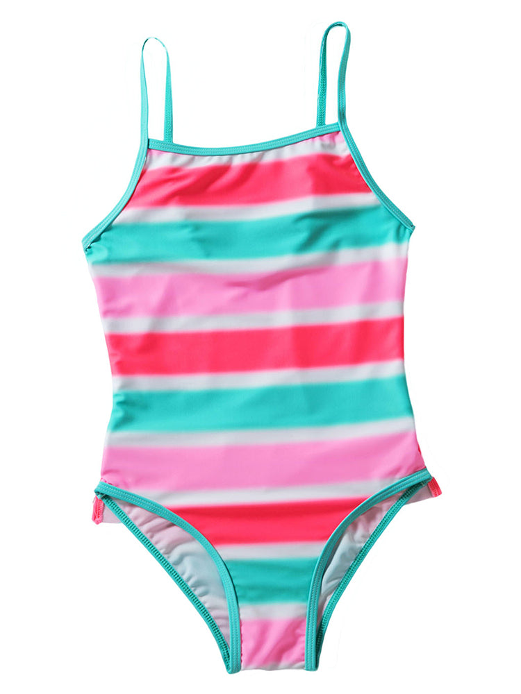 6bbb6afa0a Girls swimwear neon multicolor striped ruffle trim swimsuit - Fashion Women  Wear