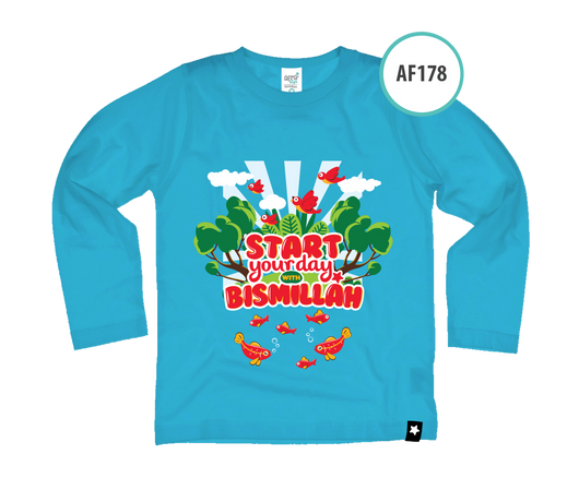 Kaos Anak AF178 Start your day with Bismillah by Afra Kids - Alhigam