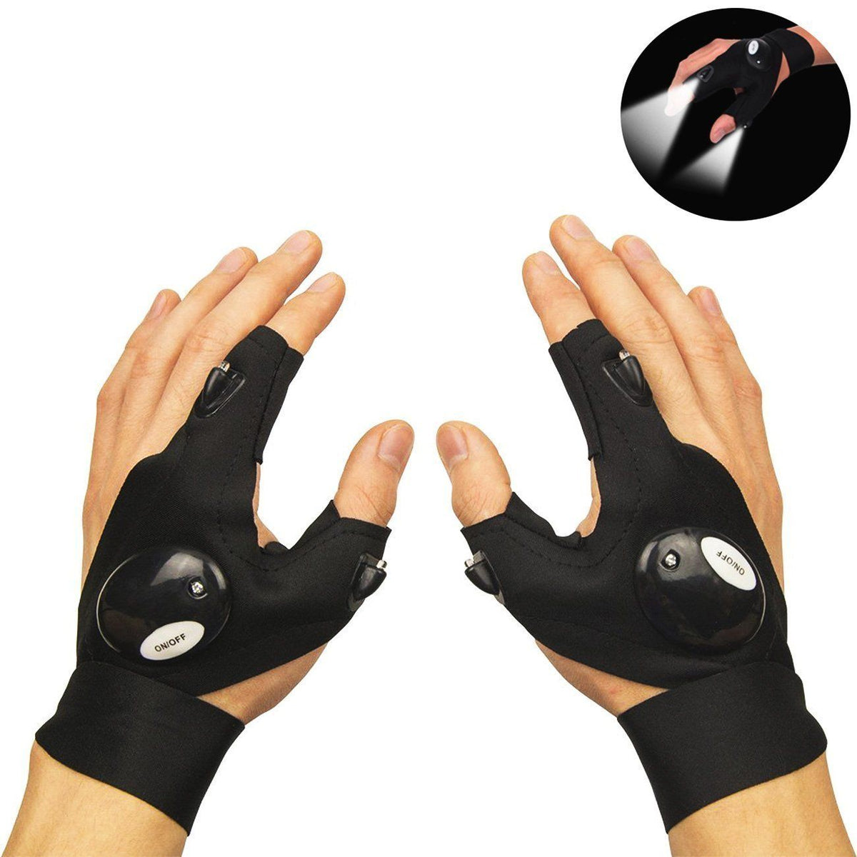 LED Flashlight Fingerless Gloves(1pair)