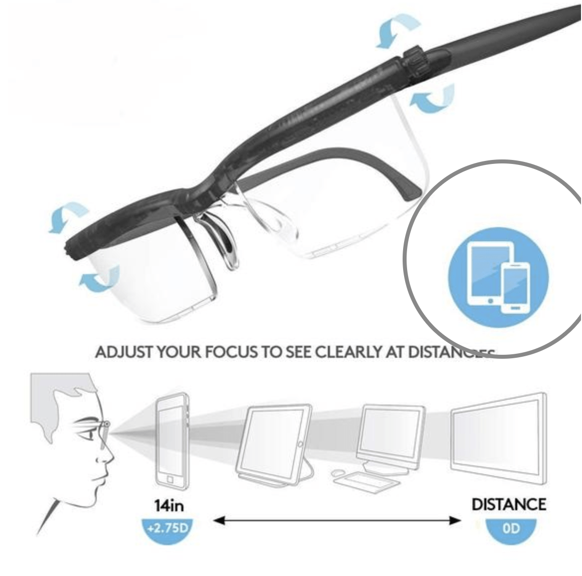 Adjustable 20/20 Prescription Glasses