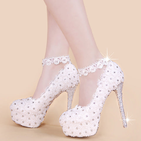 2018 white lace crystal wedding shoes the bride wedding dress bridesmaid  party stiletto single women s shoes b3bc65abf359