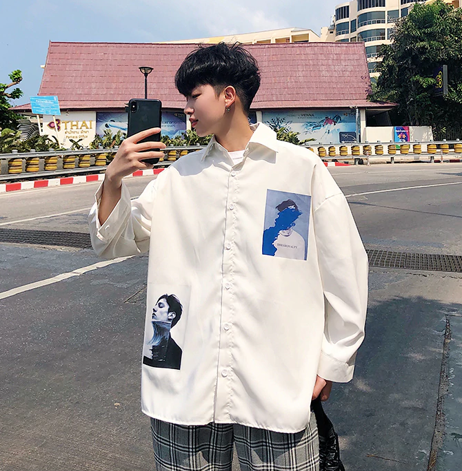 [Korean Style] Trendy Patchwork Shirts