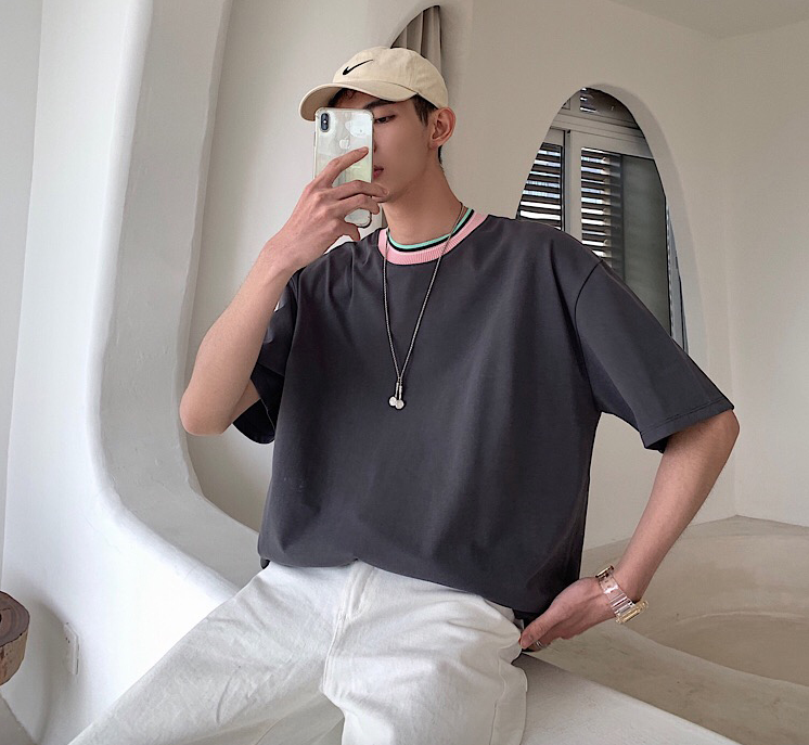 [Korean Style] Jay Two-tone Neckline T-shirts