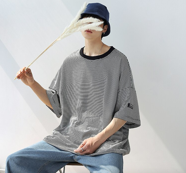[Korean Style] Bryan Cotton Striped 1/2 T-shirts