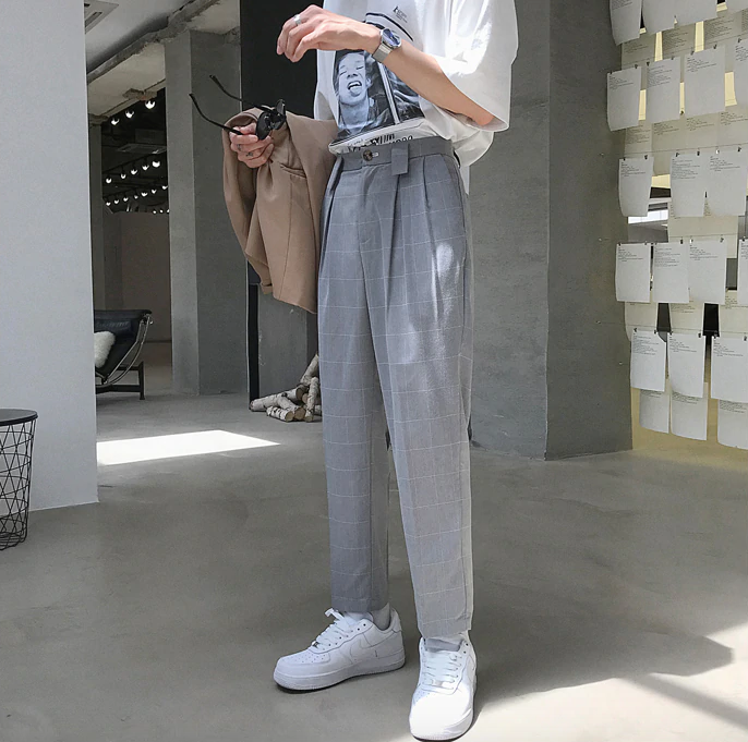 [Korean Style] Hust Straight Plaid Trousers