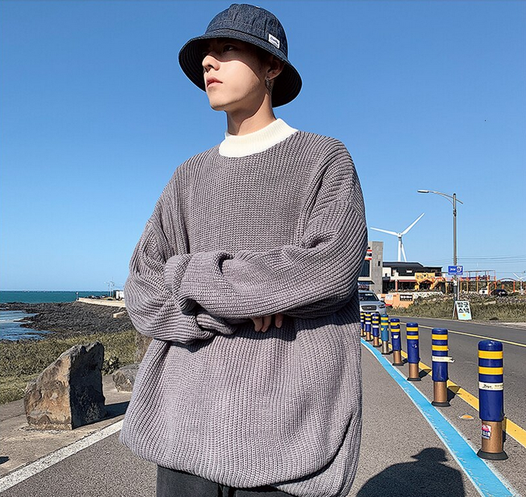[Korean Style] 6 Colors Two-Tone Pullover Sweaters