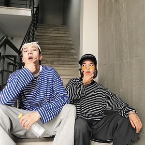 [Korean Style] Unisex Oversize Striped Sweatshirts