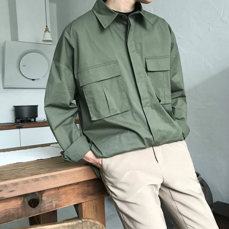 [Korean Style] 3 Colors Camisa Double Pocket Shirts