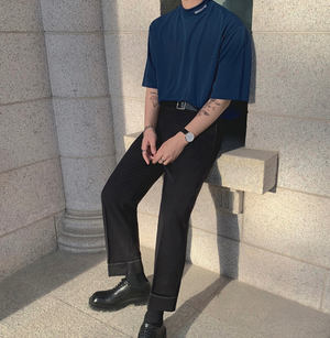 [Korean Style] Blue/Black Turtleneck 1/2 Sweatshirts