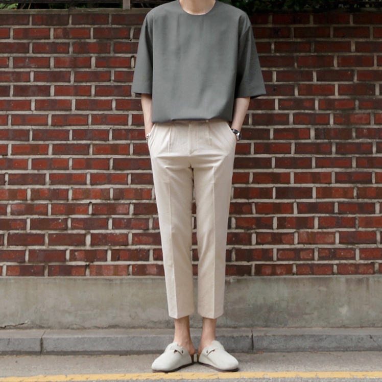 [Korean Style] Gray Oversized 1/2 T-shirts