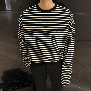 [Korean Style] Long-Sleeved Striped T-shirts