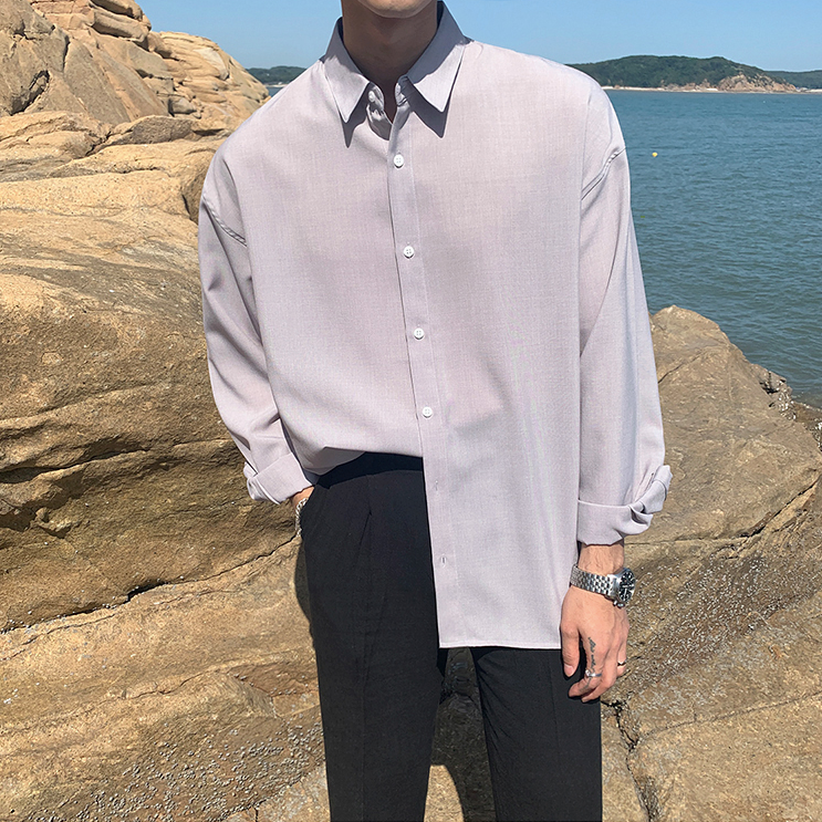 [Korean Style] 3 Colors Lapel Loose-Fit Shirts