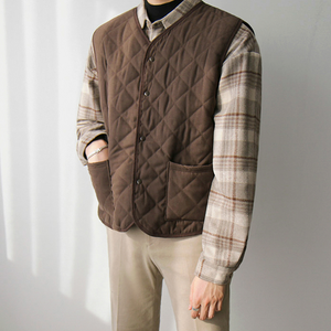 [Korean Style] Brown Single-breasted Vest