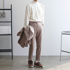 [Korean Style] 3 Color Jersey Turtleneck Sweater