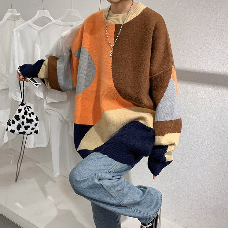 [Korean Style] Unisex Cashmere Blends Patchwork Sweater