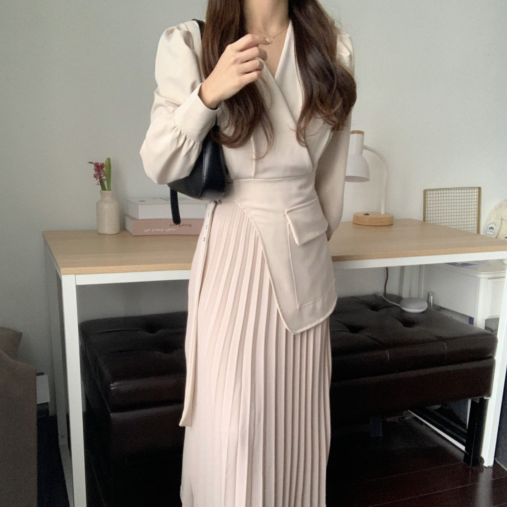 [Korean Style] Inna Beige V-neck Belted Blazer Pleated Skirt One Piece