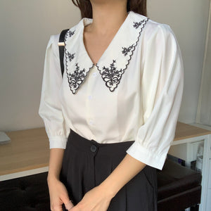 [Korean Style] Oliver Embroidery Turn-down Collar Blouse