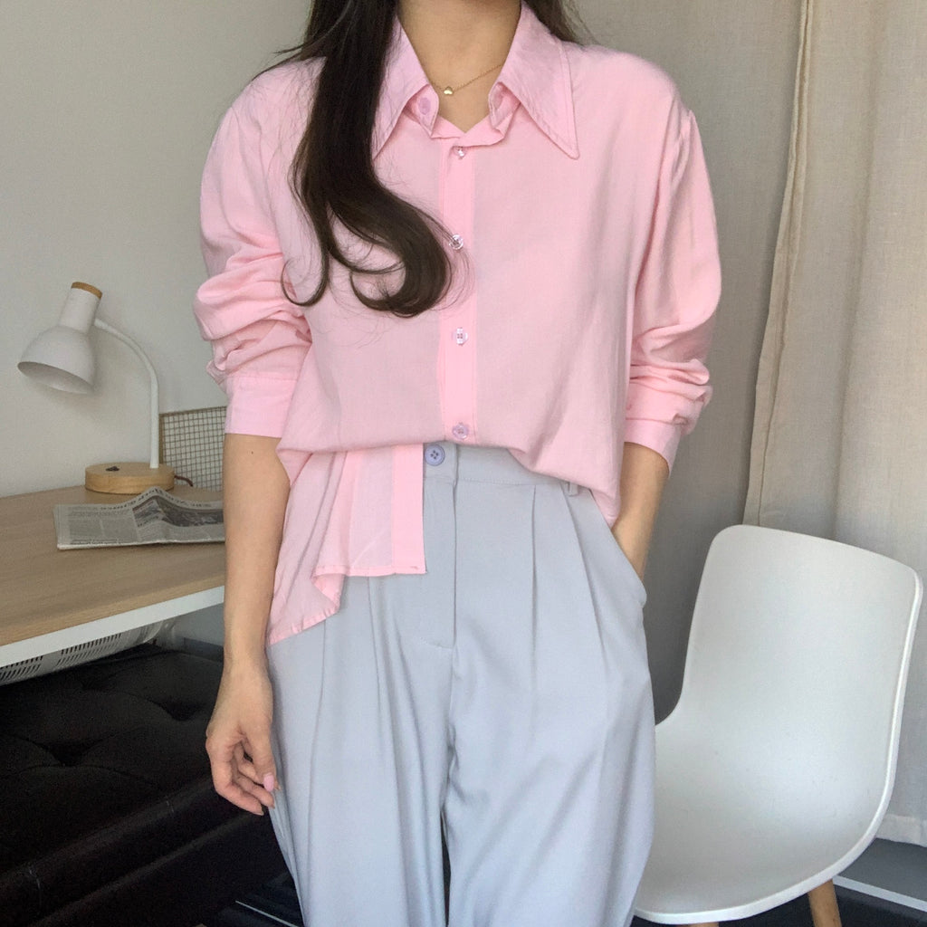 [Korean Style] Cezanne Pink Blouse w/ Gray Wide Leg Trouser 2 pc Set