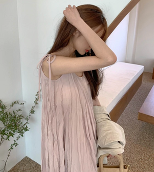 [Korean Style] Wester Pink Wrinkle Cami Dress