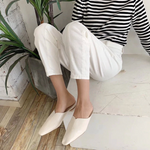 [Korean Style] Ashelie Solid Color Pointy Toe Mules