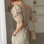 [Korean Style] Cheary Puff Sleeve Ribbon Wrap Top