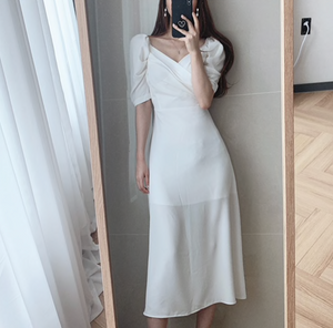 [Korean Style] Sinéad Slim Fit Puff Sleeve Wrap Dress