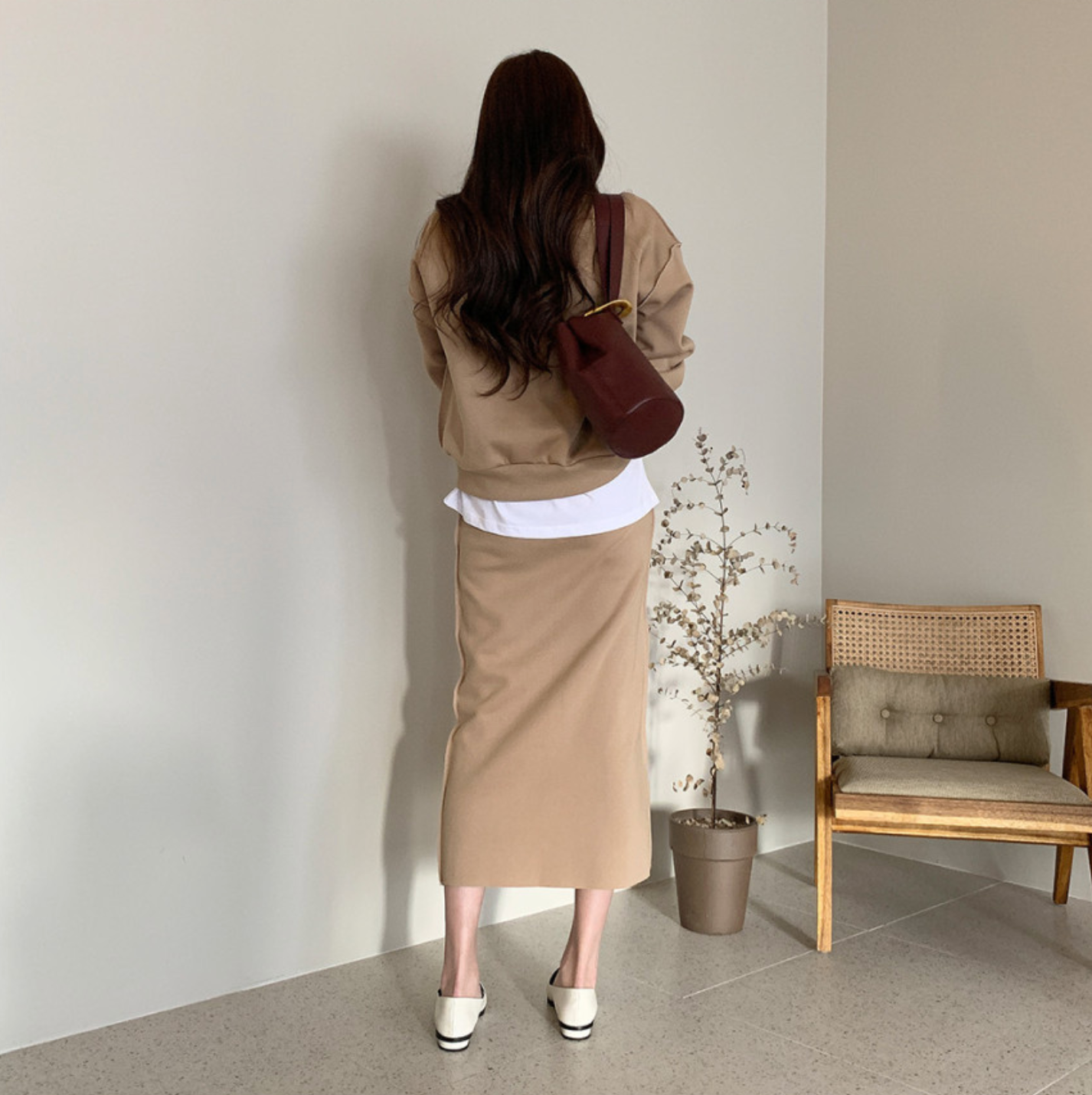 [Korean Style] Emisa Casual Sweatshirt w/ Skirt 2 Piece Set