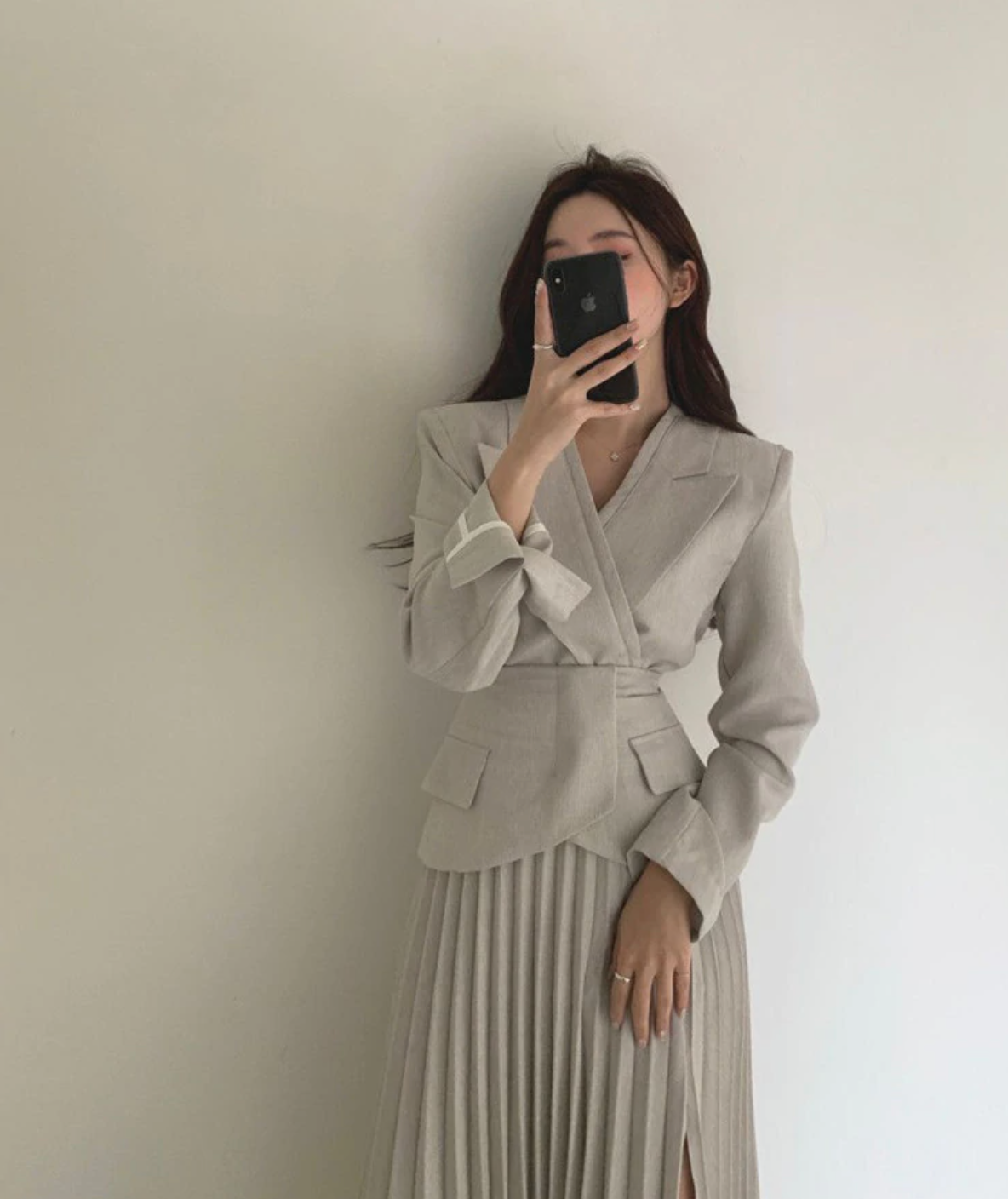 [Korean Style] Nalia Blazer w/ Pleated Slit Skirt 2 Piece  Set