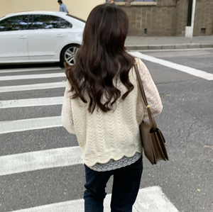 [Korean Style] Blye Lace Blouse w/ Knit Vest 2 Piece Set