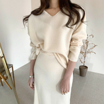 [Korean Style] Darby Matchy Knit Top and Long Skirt 2 pc Set