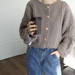 [Korean Style] Sonjin Cable Knit Chunky Cardigan