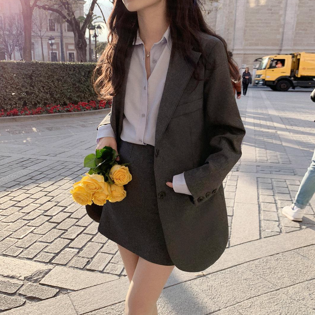 [Korean Style] Maëlle Solid Color Blazer Mini Skirt