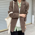 [Korean Style] High Quality 2 Colors Loose Fit Button Belted Blazer