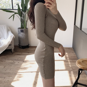 [Korean Style] Remy Slim Fit Rib Knit Dress