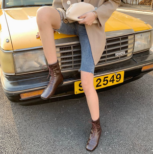 [Korean Style] Irene Faux Leather Ankel Boots
