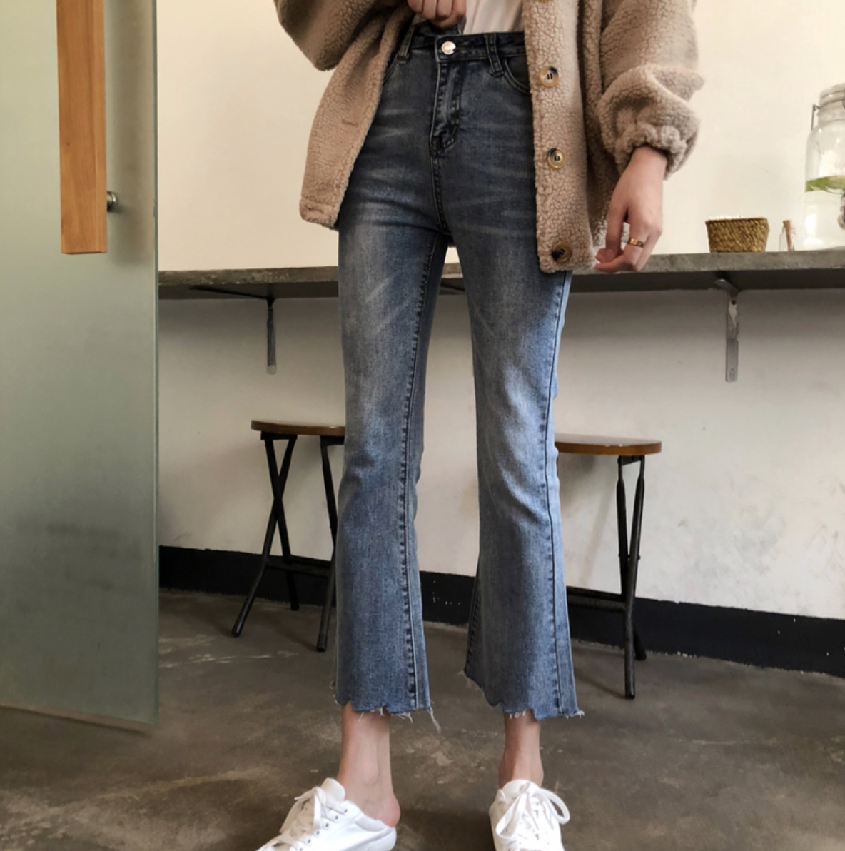 [Korean Style] June Asymmetrical Closure High Waisted Flare Jeans