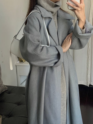 [Korean Style] Siantry Wool Blended Long Overcoat with Belt