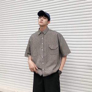 [Korean Style] Mardi Stripe Printing Shirts